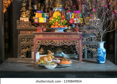 Old altar during the penultimate New Years Eve - Tat Nien, the meal finishing the entire year. Vietnam lunar new year.