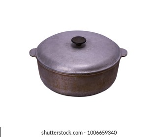 old aluminum bowler with a lid isolated on a white background