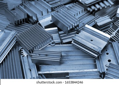 Old aluminum heat sinks, abstract retro electronic background