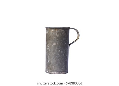Old aluminum pitcher with handle.