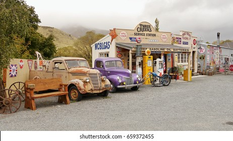 Old American cars. Retro Museum in Burke Pass. New Zealand. Southern island. March 18, 2017