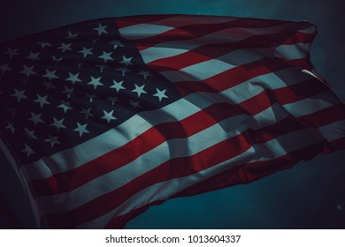 Old American flag background for Memorial Day or 4th of July or Dependence Day, effect by vintage style tone