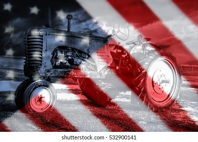 Old American flag background for Memorial Day or 4th of July, old american tractor in the backdrop.