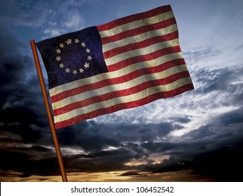 Old American Flag waving over sunset, USA flag for USA Independence Day, USA Betsy Ross flag