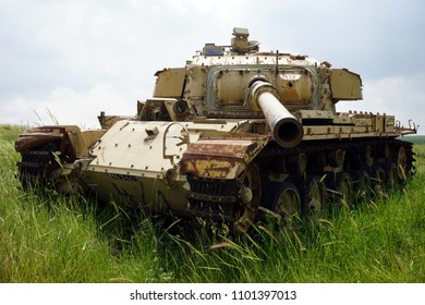Old american tank on the green grass in Valley of Tears in Golan Heights in Israel