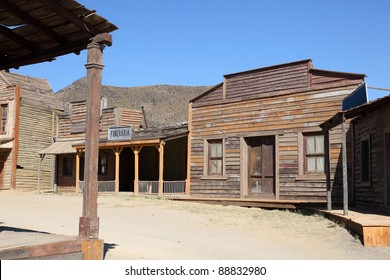An old American western style town