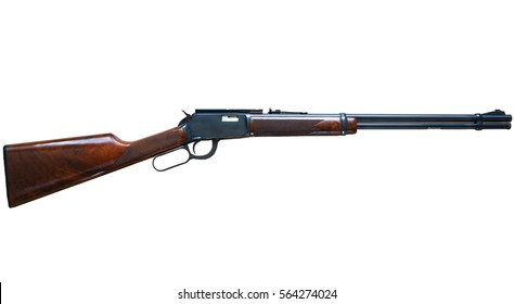 Old American wild west rifle on white background