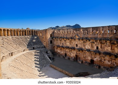 Old amphitheater Aspendos in Antalya, Turkey - archaeology background