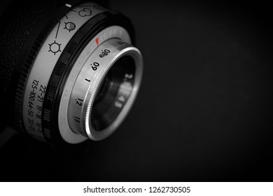 old analog camera from DDR production with dark background