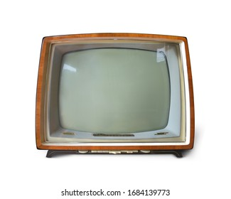 Old analog Television retro wooden case for vintage design isolated on white background. This has clipping path.