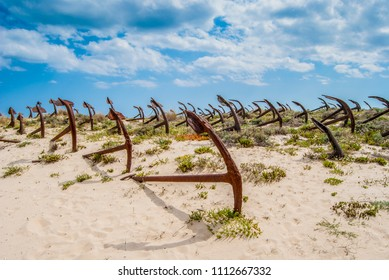 The old Anchor cemetery at the Barril beach in Tavira Algarve Portugal