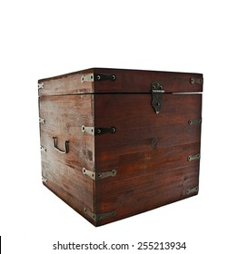 Old ancient chest.  Isolated on white background
