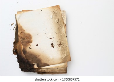 Old ancient handwritten book. Yellowed paper from time to time. Decrepit notebook