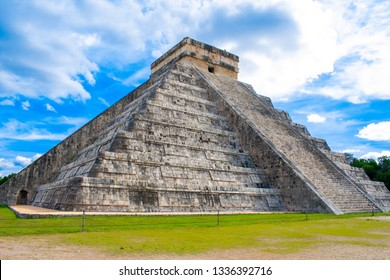 Old Ancient Ruins Of Chichen Itza, Temple of Kukulcan. Pre - Columbian Mayan City