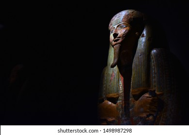 Old ancient sarcophagus of an important egypt woman.