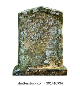 Old ancient tombstone isolated on white background