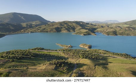 Old Andalucia Village Zahara with lake in Spain (Pueblos Blancos - White towns in Andalucia)