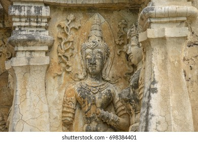 Old Angle Thai Art Sculpture at Wat Jed Yod Temple ChiangMai Thailand