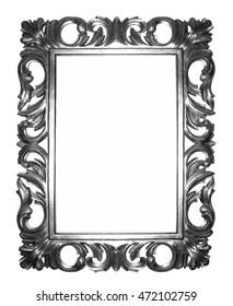 antique black frame. Old Antique Black Frame Isolated Decorative Carved Wood Stand  Frame On White Background Antique Black T
