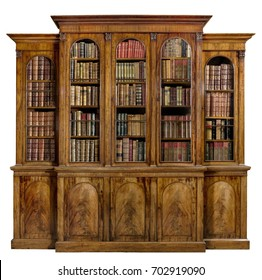 old antique bookcase English mahogany with books isolated on white with clip path