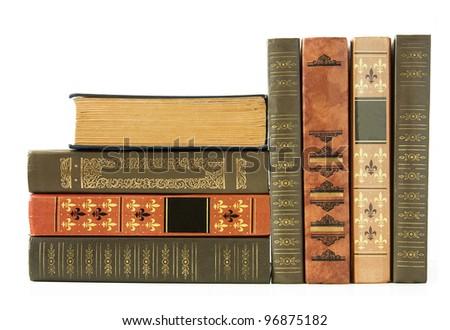 Old Antique Bookshelf Isolated On White Background