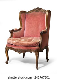 Charmant Old Antique Carved Red Upholstered Wing Arm Chair