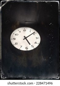 Old antique clock on the wall