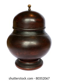 Old antique dark wooden bowl with lid