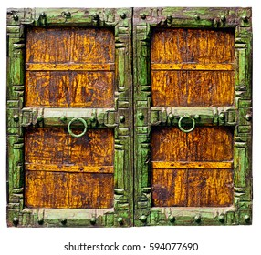 Old antique door; isolated on white.