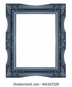 Old Antique  frame Isolated Decorative Carved Wood Stand Antique  Isolated On White Background