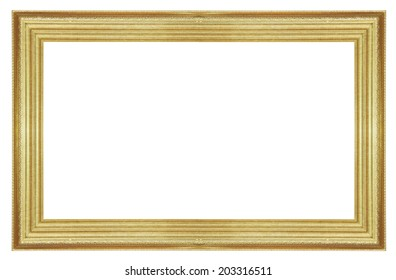 Old antique gold frame isolated on white background.