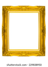 old antique gold frame on isolate background
