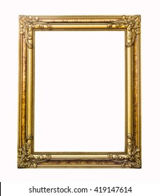Old antique gold frame on isolated background.