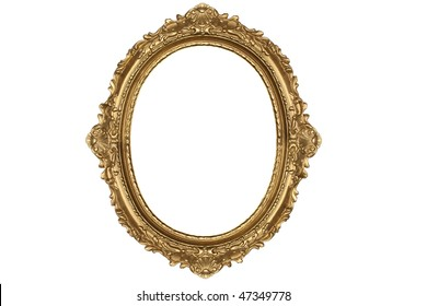 old antique gold frame over white background