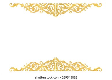 old antique gold frame Stucco walls greek culture roman vintage style pattern line design for border isolated on white background with clipping path.