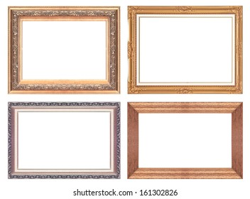 Old antique gold picture frame wall, wallpaper, decorative objects isolated white background.