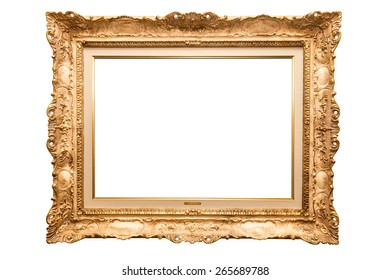 Old antique golden frame over white isolated background, beautiful vintage background