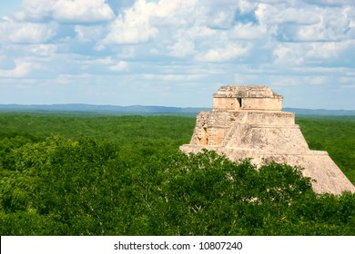 Old antique mayan site with round pyramid