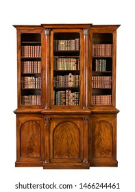 old antique small bookcase wooden mahogany with books isolated on white