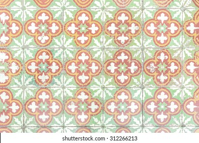 Old antique square nyonya pattern tiles floor texture background, Traditional baba style