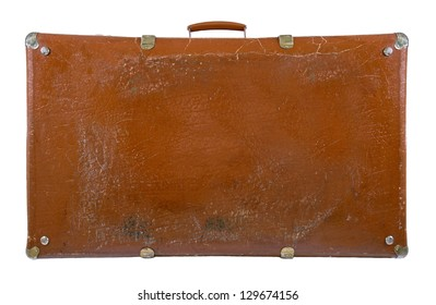 Old antique suitcase isolated on white