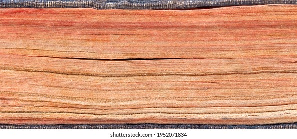 Old antique thick book pages side view background texture, banner, vintage yellowed paper pages macro, extreme closeup, detail. Bibliophile, bookworm abstract backdrop, literature, knowledge, nobody