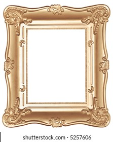 Old, antique vintage sepia color frame. Isolated on white
