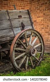 Old antique wagon and wagon wheel.