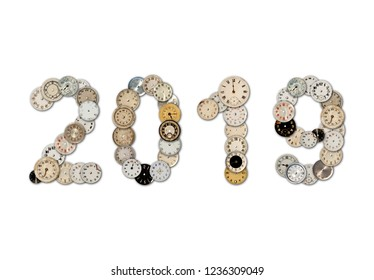 Old antique watch faces 2019 New Year sign