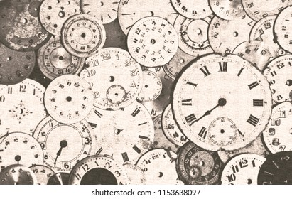 Old antique watch faces grungy steam punk sepia background