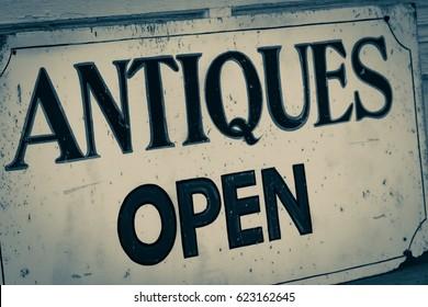 Old Antiques Shop Open Sign