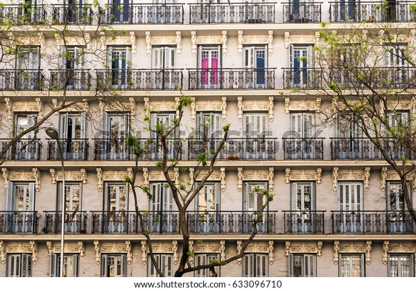 Old Apartment Building Decorative Balconies One Stock Photo ...
