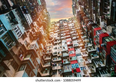 Old apartment in Hong Kong, Crowded city apartment from bottom view.