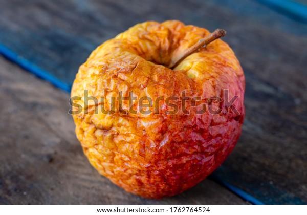 Old apple. Dried skin. Waste of food.